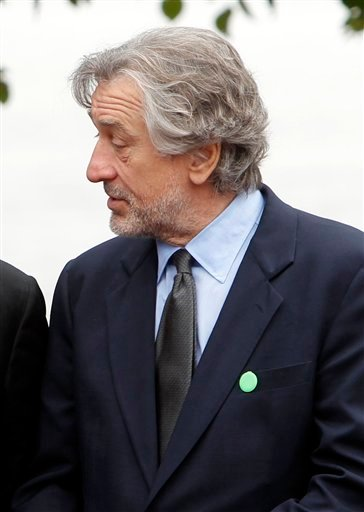 """FILE - In this Sept. 22, 2011 file photo, actor Robert De Niro is seen in New York. De Niro opened a fundraiser starring Michelle Obama by listing her Republican rivals and jokingly suggesting that America isn't """"ready for a white first lady."""""""