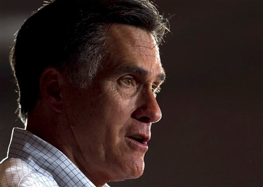 In this March 21, 2012, photo, Republican presidential candidate, former Massachusetts Gov. Mitt Romney addresses an audience during a campaign stop at an American Legion post in Arbutus, Md. (AP Photo/Steven Senne)