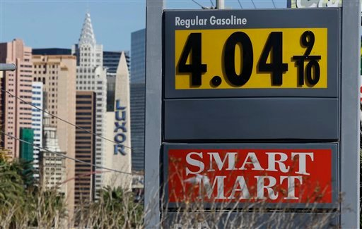 Gasoline prices of more than $4 are seen at a gas station on the south end of The Strip, Tuesday, March 20, 2012, in Las Vegas. (AP Photo/Julie Jacobson)