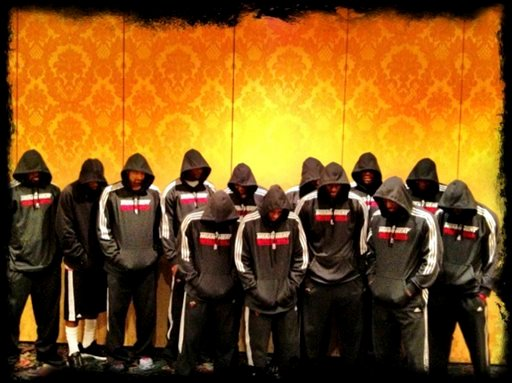 In this image posted to Miami Heat basketball player LeBron James' Twitter page, Miami Heat players wear team hoodies. (AP Photo/LeBron James via Twitter)