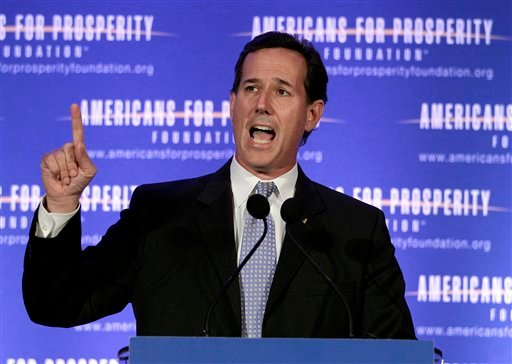 Republican presidential candidate, former Pennsylvania Sen. Rick Santorum speaks at the AFP Defending the Dream Conference in Milwaukee, Wis., Saturday, March 24, 2012. (AP Photo/Jae C. Hong)
