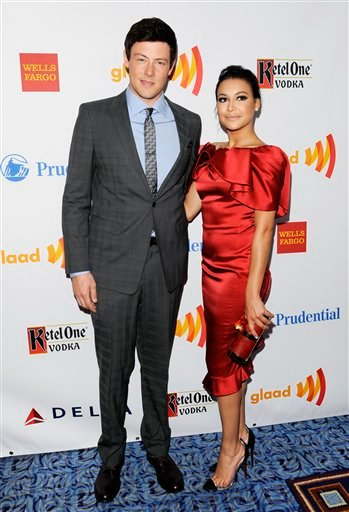 """Event co-hosts Cory Monteith and Naya Rivera from the cast of """"Glee"""" pose together at the 23rd Annual GLAAD Media Awards on Saturday, March 24, 2012 in New York. (AP Photo/Evan Agostini)"""