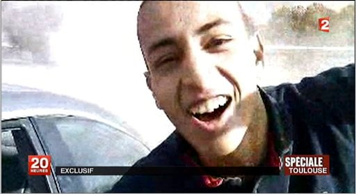 This undated and unlocated frame grab provided Wednesday, March 21, 2012, by French TV station France 2 shows the suspect in the killing of 3 paratroopers, 3 children and a rabbi in recent days, Mohamed Merah. (AP)