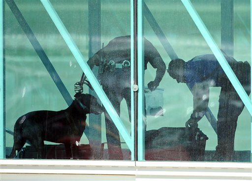 Authorities use explosive sniffing dogs dogs to search luggage after an emergency landing at Rick Husband Amarillo International Airport in Amarillo, Texas. (AP Photo/The Amarillo Globe News, Roberto Rodriguez)