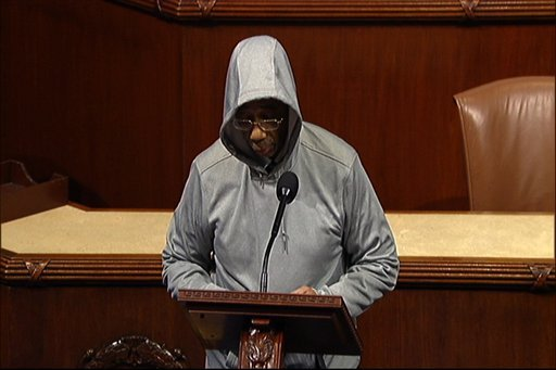 This handout frame grab from video, provided by House Television shows Rep. Bobby Rush, D-Ill., wearing a a hoodie, speaking on the floor of the House on Capitol Hill in Washington, Wednesday, March 28, 2012. (AP Photo/House Television)
