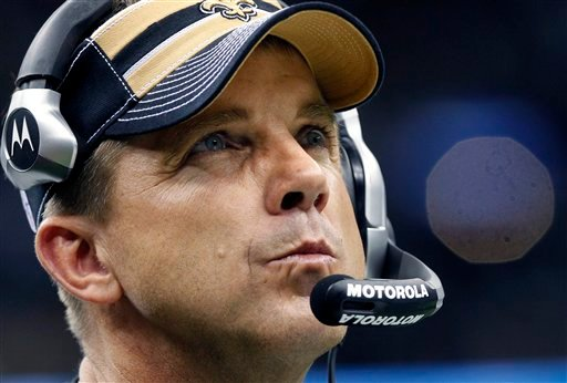 This Dec. 26, 2011 file photo shows New Orleans Saints head coach Sean Payton in the fourth quarter of an NFL football game against the Atlanta Falcons in New Orleans. (AP Photo/Rusty Costanza, File)