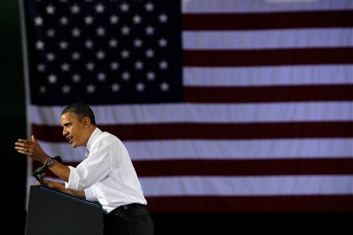President Barack Obama speaks at a campaign fundraiser at the University of Vermont in Burlington, Vt., Friday, March, 30, 2012. (AP Photo/Pablo Martinez Monsivais)