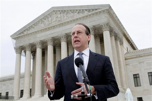 In this March 28, 2012, file photo Paul Clement, the lawyer representing states opposed to the Patient Protection and Affordable Care Act, talks to media outside the Supreme Court in Washington at the end of arguments on the law's constitutionality. (AP)