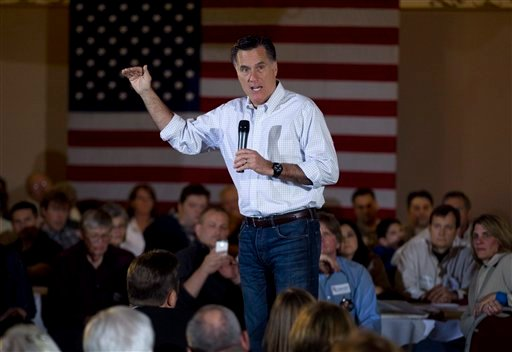 Republican presidential candidate, former Massachusetts Gov. Mitt Romney, campaigns at a pancake breakfast event in Milwaukee, Wis., Sunday, April 1, 2012. (AP Photo/Steven Senne)