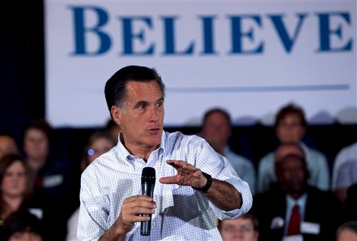 Republican presidential candidate, former Massachusetts Gov. Mitt Romney, speaks to a crowd at a town-hall style campaign event in, Madison, Wis., Sunday, April 1, 2012. (AP Photo/Steven Senne)
