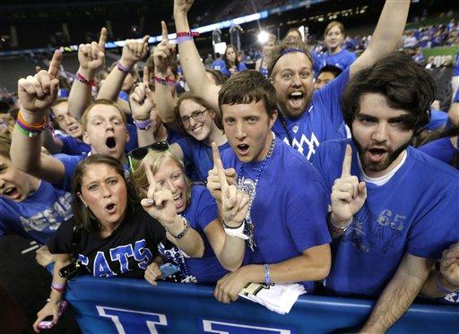 Kentucky fans celebrate after the NCAA Final Four tournament college basketball championship game between Kentucky and Kansas Monday, April 2, 2012, in New Orleans. Kentucky won 67-59. (AP Photo/David J. Phillip)
