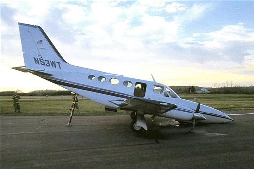 This photo provided March 3, 2012, by the Door County Sheriffs Office shows Cessna twin-engine plane that an elderly woman landed with an almost empty fuel tank after her husband fell unconscious at the controls. (AP Photo)