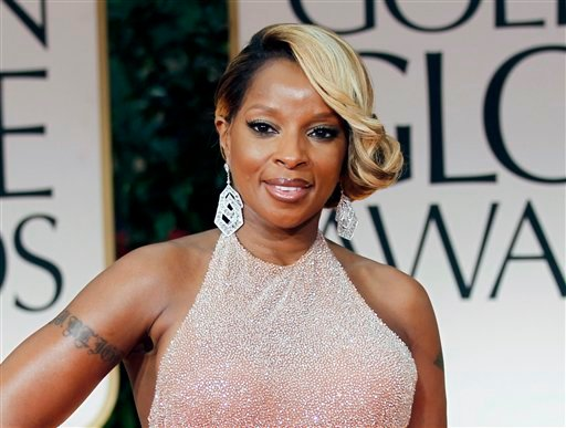 FILE - In this Jan. 15, 2012 file photo, singer Mary J. Blige arrives at the 69th Annual Golden Globe Awards in Los Angeles.