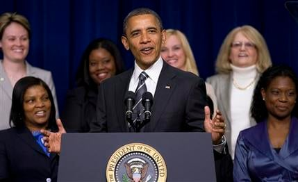 President Barack Obama speaks at the White House Forum on Women and the Economy, Friday, April 6, 2012. (AP Photo/Carolyn Kaster)