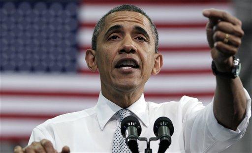 President Barack Obama speaks at Florida Atlantic University, Tuesday, April 10, 2012, in Boca Raton, Fla. (AP Photo/Carolyn Kaster)