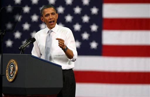 President Barack Obama speaks at Florida Atlantic University, Tuesday, April 10, 2012, in Boca Raton, Fla. (AP Photo/Lynne Sladky)
