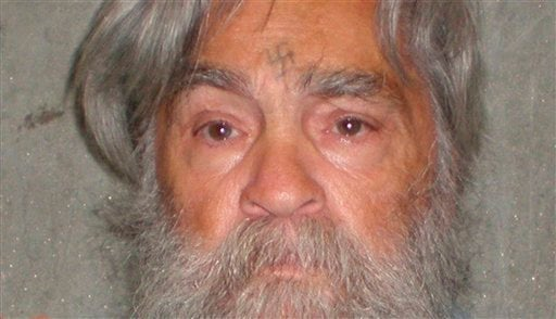 Photo provided by the California Department of Corrections shows 77-year-old serial killer Charles Manson Wednesday, April 4, 2012. Manson will have an April 11, 2012 parole hearing in California. (AP Photos/California Department of Corrections, File)