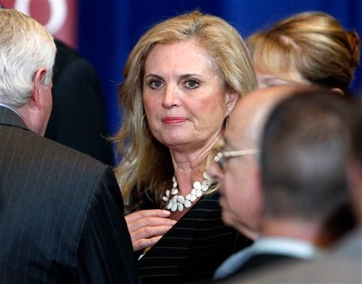 March 19, 2012 file photo: Ann Romney, wife of Republican presidential candidate Mitt Romney talks with audience members after her husbands spoke at the University of Chicago, in Chicago. (AP Photo/M. Spencer Green, File)