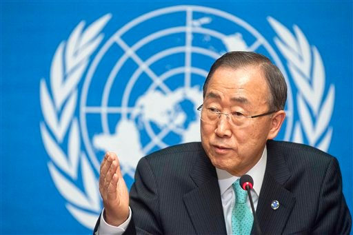United Nations Secretary-General Ban Ki-moon speaks about the situation in Syria during a press conference at the European headquarters of the United Nations in Geneva, Switzerland, Thursday, April 12, 2012. (AP Photo/Keystone/Sandro Campardo)