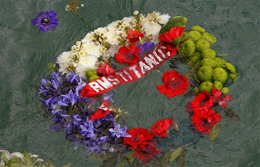 A memorial wreath dedicated to the victims of the Titanic disaster floats in the dock at Southampton, from where the ill-fated liner sailed 100-years ago today, Tuesday April 10, 2012. (AP)
