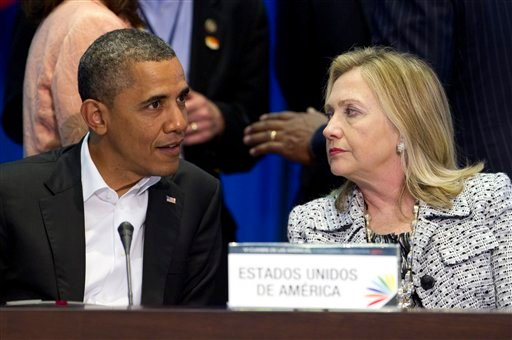 President Barack Obama, left, and Secretary of State Hillary Rodham Clinton attend the plenary session of the sixth Summit of the Americas in Cartagena, Colombia, Saturday April 14, 2012. (AP)