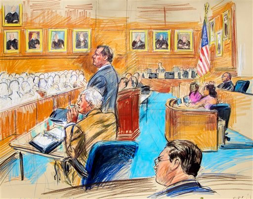 This artist rendering shows former Major League Baseball pitcher Roger Clemens, standing left, and his lawyer Rusty Hardin, front left, facing prospective jurors inside federal court in Washington.