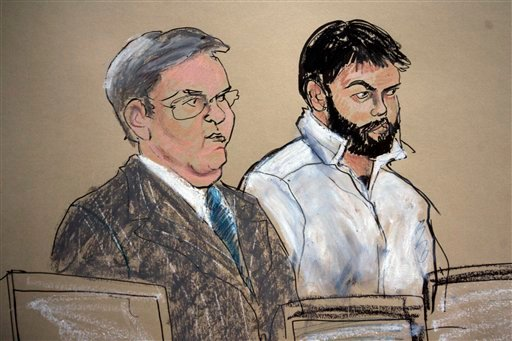 This Jan. 8, 2010 courtroom file sketch shows Zarein Ahmedzay, right, with his attorney Michael Marinaccio during his arraignment at Brooklyn Federal court in New York. (AP)