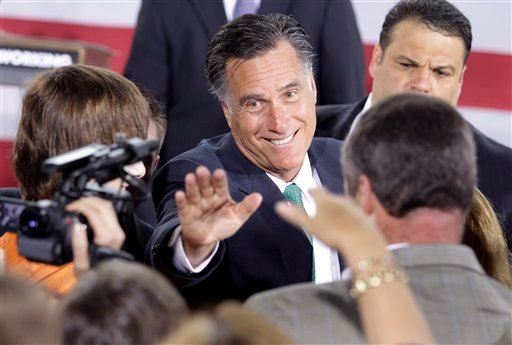 epublican presidential candidate, former Massachusetts Gov. Mitt Romney waves to supporters after speaking at a campaign stop in Charlotte, N.C., Wednesday, April 18, 2012. (AP Photo/Chuck Burton)