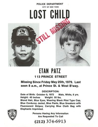 This undated file image provided May 28, 2010, by Stanley K. Patz shows a flyer distributed by the New York Police Department of Patz's son Etan who vanished on May 25, 1979, and has never been found. (AP Photo/New York Police Department)