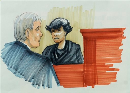 In this courtroom sketch, singer and actress Jennifer Hudson testifies Monday, April 23, 2012, in Chicago at the murder trial of William Balfour, charged in the October 2008 killings of her mother, brother and nephew.