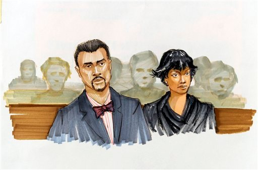This courtroom sketch shows Jennifer Hudson right, and her fiance David Otunga looking on in the courtroom during the first day of William Balfour's murder trial at the Cook County Criminal Court in Chicago, Monday, April 23, 2012.