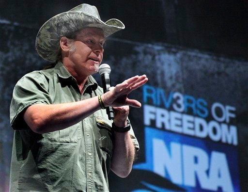 FILE - In this May 1, 2011 file photo, rocker and gun rights advocate Ted Nugent addresses a seminar at the National Rifle Association's 140th convention in Pittsburgh. Nugent was expected to plead guilty Tuesday, April 24, 2012.