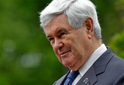 Republican presidential candidate, former House Speaker Newt Gingrich speaks to the media outside the Billy Graham Library in Charlotte, N.C., Tuesday, April 24, 2012. (AP Photo/Chuck Burton)
