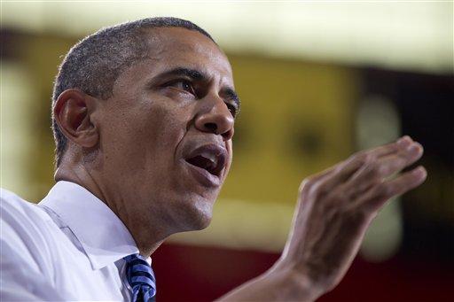 President Barack Obama speaks at the University of Iowa, Wednesday, April 25, 2012, in Iowa City, Iowa. (AP Photo/Carolyn Kaster)