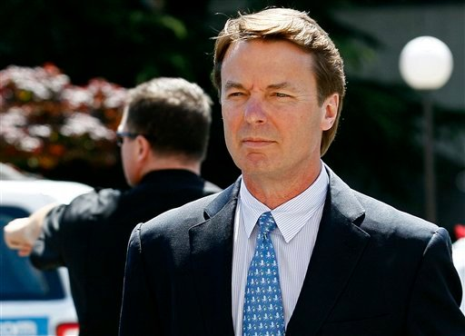 FILE - In this April 12, 2012, file photo, former presidential candidate and U.S. Sen. John Edwards arrives outside federal court in Greensboro, N.C. (AP Photo/Gerry Broome, File)