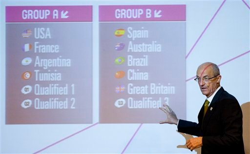 FIBA's Sport Director Lubomir Kotleba shows the fixture for the London 2012 Olympic men's basketball tournament after the draw in Rio de Janeiro, Brazil, Monday, April 30, 2012. (AP Photo/Victor R. Caivano)