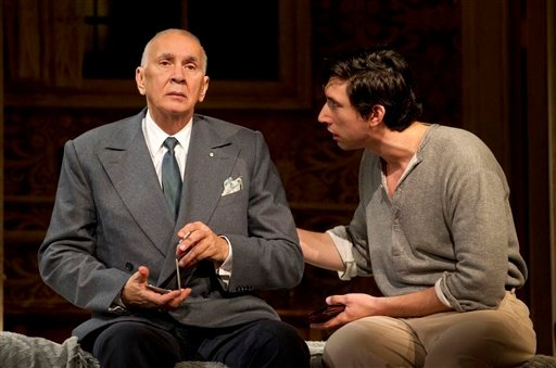 """In this undated image released by Boneau/Bryan-Brown, actors Frank Langella, left, and Adam Driver are shown in a scene from the play """"Man and Boy"""" in New York."""