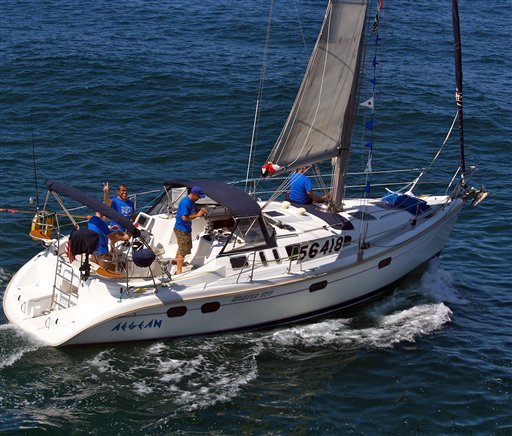 This Friday, April 27, 2012, photo shows the Aegean with crew members at the start of a 125-mile Newport Beach, Calif. to Ensenada, Mexico yacht race. (AP)