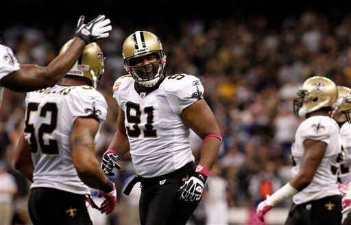 his Oct. 23, 2011 file photo shows New Orleans Saints defensive end Will Smith (91). (AP Photo/Jonathan Bachman, File)