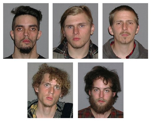 Photos provided by the FBI show five men arrested Monday, April 30, 2012, and accused of plotting to blow up a bridge near Cleveland, Ohio, the FBI announced Tuesday, May 1, 2012. (AP Photo/FBI)