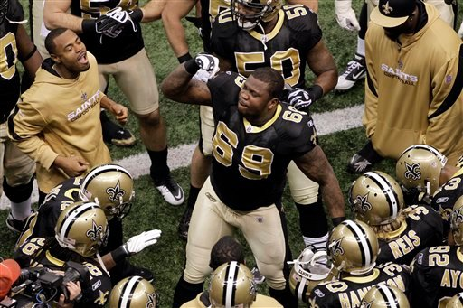 This Jan. 24, 2010 file photo shows New Orleans Saints' Anthony Hargrove firing up his teammates before the NFC Championship NFL football game against the Minnesota Vikings, in New Orleans. (AP Photo/Dave Martin, File)
