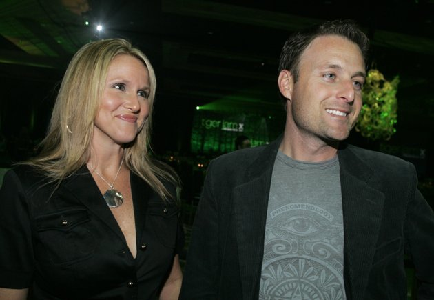 FILE - In this Saturday, May 26, 2007 file photo, Television personality Chris Harrison, right, and his wife Gwen arrive for the 10th annual Tiger Jam at the Mandalay Bay in Las Vegas.