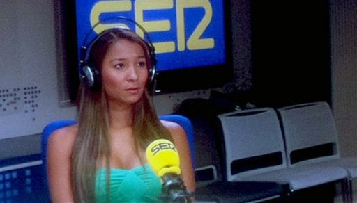 In this Friday, May 4, 2012 photo released by the Spanish radio station Cadena SER shows Dania Suarez during an interview at an undisclosed location.