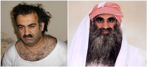 At left a March 1, 2003 photo obtained by the Associated Press shows Khalid Sheikh Mohammed, the alleged Sept. 11 mastermind, shortly after his capture during a raid in Pakistan. (AP)