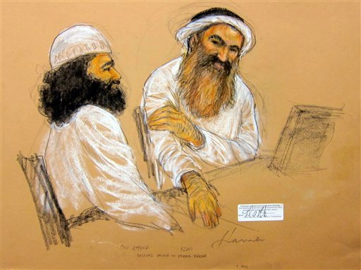 In this photo of a sketch by courtroom artist Janet Hamlin and reviewed by the U.S. Department of Defense, Khalid Sheikh Mohammed, right, and co-defendant Walid bin Attash attend military hearing at the Guantanamo Bay U.S. Naval Base in Cuba, Saturday (AP
