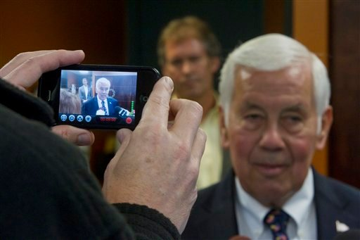 Sen. Richard Lugar, R-Ind., is video recorded by a cell phone during a visit to the West Lafayette wastewater treatment center Monday, May 7, 2012 in West Lafayette, Ind. Lugar visited West Lafayette this morning in a last minute appeal to voters in Tuesd