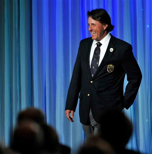 Phil Mickelson smiles during his induction into the World Golf Hall of Fame on Monday, May 7, 2012,in St. Augustine, Fla.