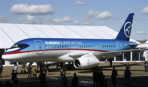 FILE - The Sukhoi Superjet-100 is displayed outside the aviation factory in Komsomolsk-on-Amur, about 6200 kilometers (3,900 miles) east of Moscow, Russia's, in this Sept. 26. 2007 file photo. (AP Photo/RIA-Novosti, Ruslan Krivobok, File)