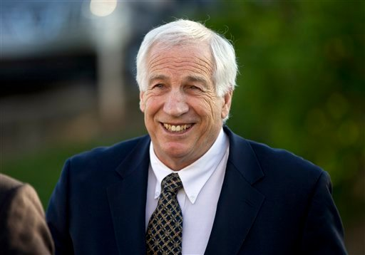 In this April 5, 2012, file photo, Jerry Sandusky, a former Penn State assistant football coach charged with sexually abusing boys, arrives at the Centre County Courthouse in Bellefonte, Pa. (AP Photo/Matt Rourkem File)