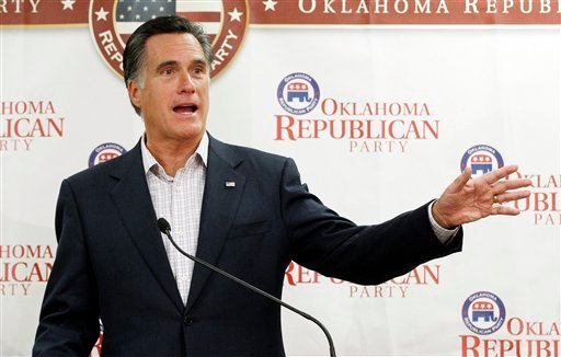 Republican presidential candidate former Massachusetts Gov. Mitt Romney, gestures as he speaks to supporters at Oklahoma state Republican Party Headquarters in Oklahoma City, Wednesday, May 9, 2012. (AP Photo/Sue Ogrocki)